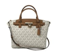 Michael Kors Hamilton Traveler Large Zip Satchel Bag in Vanilla/Acorn