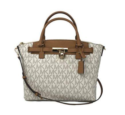 Michael Kors Hamilton Traveler Large Zip Satchel Bag in Vanilla/Acorn